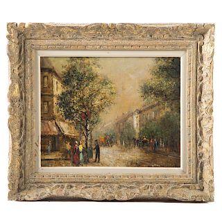 V. Libot. Paris Street Scene, oil on canvas