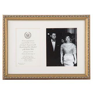 President John F Kennedy inauguration invitation