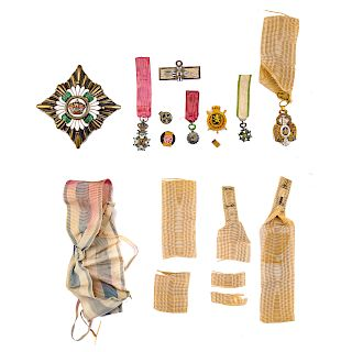 Collection assorted medals, bar pins and ribbons