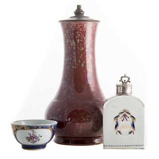 Chinese flambe vase and two export tea articles
