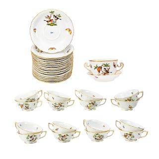 16 Herend porcelain teacups and saucers