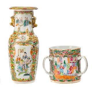 Chinese Export Rose Medallion loving cup & vase
