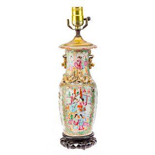 Chinese Export Rose Medallion vase lamp