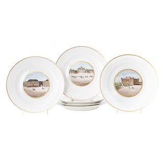 Set 6 KPM porcelain architectural cabinet pates