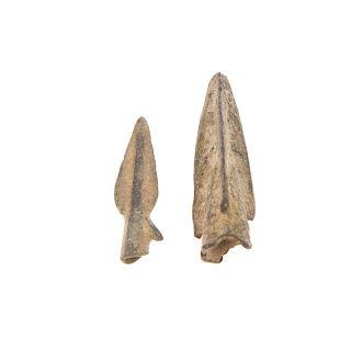 Two Greek bronze arrowheads