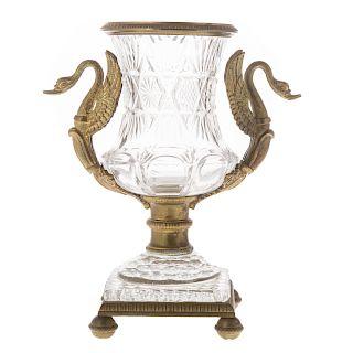 Baccarat bronze-mounted crystal urn