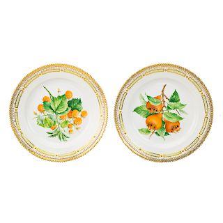 Pr. Royal Copenhagen porcelain Flora Danica plates