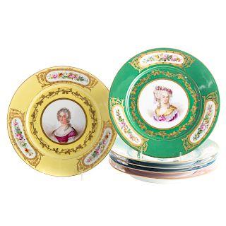 Set of six Louis Phillipe Sevres porcelain plates