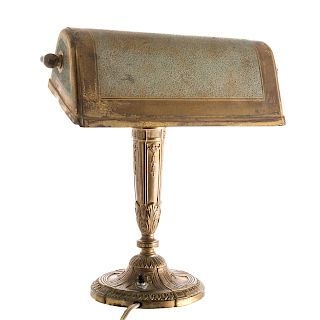 Tiffany Studios gilt-bronze banker's lamp