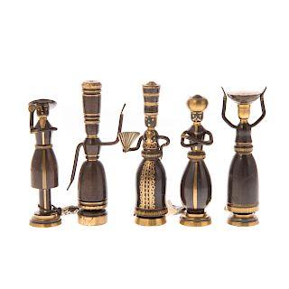 Hans Teppich. Five miniature bronze figures
