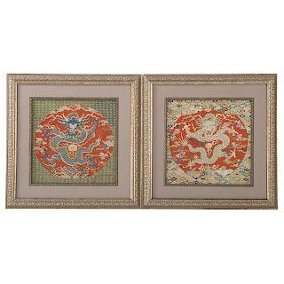 Pair Chinese dragon textiles