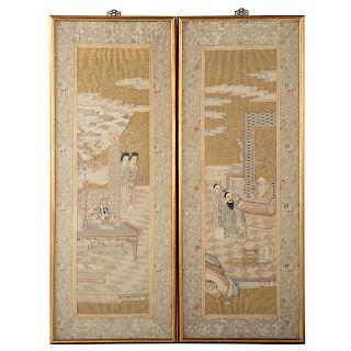 Pair Japanese textile panels