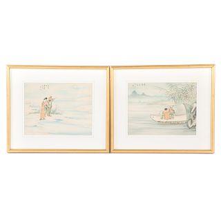 Pair Chinese School watercolors