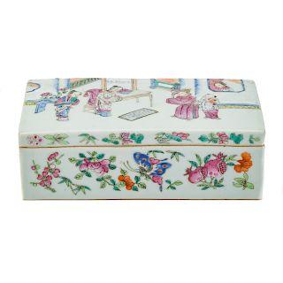Chinese Export Rose Mandarin pen box