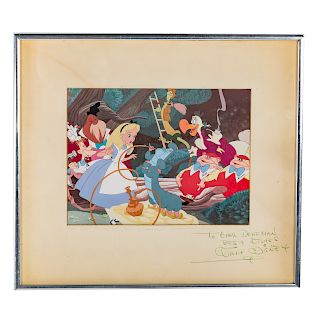 Walt Disney signed celluloid drawing