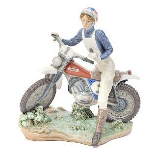 Lladro porcelain Girl Motorcycle Rider
