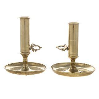 Two French brass chambersticks