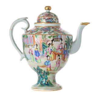 Chinese Export Rose Mandarin coffee pot