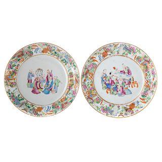 Pair Chinese Export Rose Mandarin plates