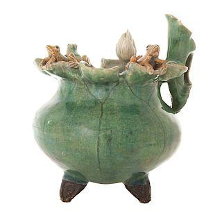 Japanese glazed terracotta vase