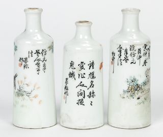 3 Fine Antique Chinese Snuff Bottles, with calligraphy
