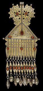 Antique Tekke Turkmen Gilded Silver Pendant