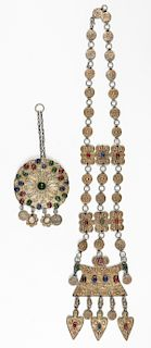 Antique 19th C. Yomud Jewelry: Necklace and Button