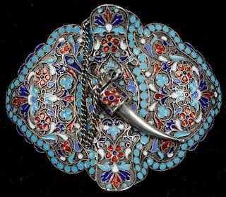 Fine Russian Silver and Enamel Belt Buckle