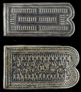2 Antique Caucasian Niello and Silver Belt Buckles