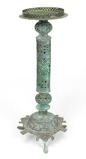 18th C. Islamic Bronze Lamp, 3 Parts