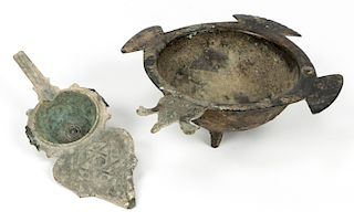 Ancient Persian Bronze Cosmetic Container and Bowl