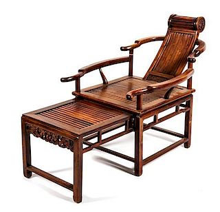 A Huanghuali Reclining Armchair Height 34 7/8 inches.