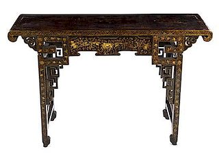 A Gilt and Lacquered Altar Table Height 31 5/8 x width 48 3/4 x depth 16 1/4 inches.