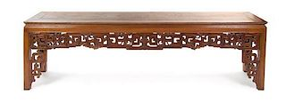A Carved Hardwood Altar Table Height 29 x width 101 x depth 24 1/8 inches.