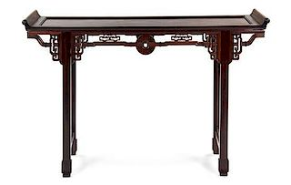 A Hardwood Altar Table Height 38 x width 59 x depth 15 inches.