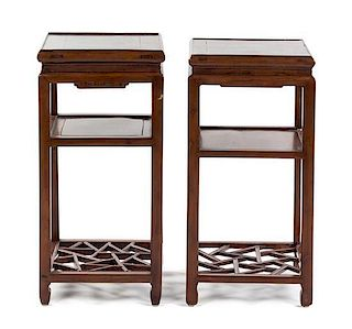 A Pair of Hardwood Occasional Tables Height 31 x width 15 x depth 15 inches.