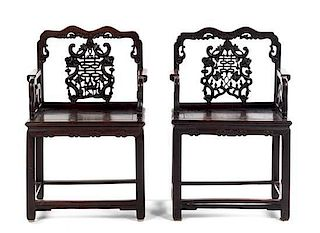 A Pair of Hardwood Armchairs Height 38 1/2 inches.