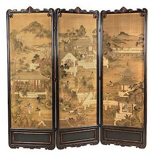 A Three-Panel Floor Screen Height 81 1/8 x width 27 3/4 inches (each panel).