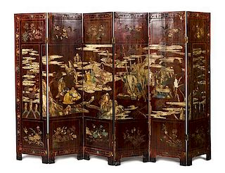 * A Coromandel Six-Panel Folding Screen Height of each panel 76 1/2 x width 19 inches.
