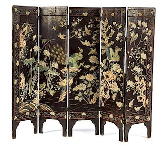 * A Carved and Polychromed Five-Panel Floor Screen Height 55 x width 14 inches (each panel).