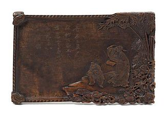 A Carved Hardwood Panel Height 11 x width 16 inches.