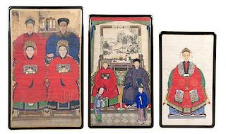 * Three Ancestor Portraits Height of largest 58 x width 34 inches.
