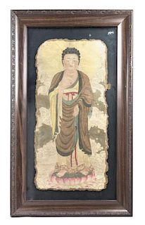 A Painted Stone Panel Height 29 1/2 x width 13 1/2 inches.