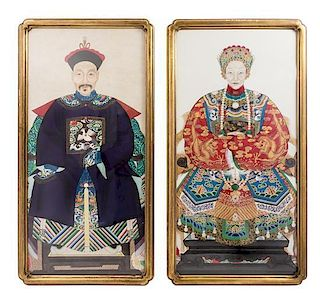 * A Pair of Ancestral Portraits Height 25 x width 12 inches.