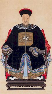 A Portrait of a Qing Dynasty Civil Official Height 52 x width 29 inches.