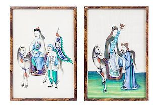 * Two Paintings on Pith Height of first overall 11 3/8 inches.