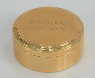 Tiffany & Co. 14 karat gold round box, monogrammed: EGS-JJS 1940-1991.  height 3/4 inch, diameter 1 3/4 inches, 47.8 grams   Provena...