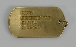 Cartier 14 karat gold dog tag, Kenneth Jay Lane K.J.L. 13 grams