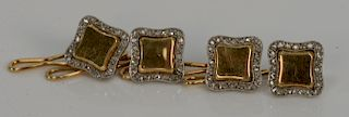 Set of four 18 karat gold and platinum buttons with modified square panel and diamond surround, no monogram.  13.3 grams