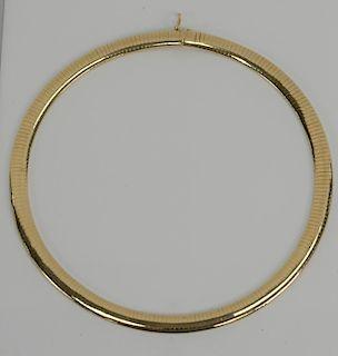 14 karat gold choker having bowed top surface. 52.4 grams
